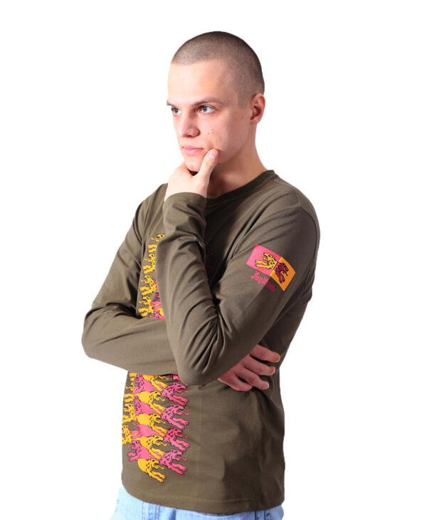 Мужская футболка с длинным рукавом с волками