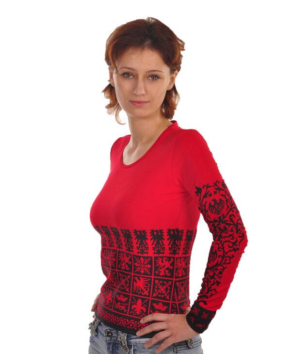 Красная женская футболка с длинным рукавом (лонгслив) с голическими знаками и символами