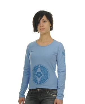 Женская дизайнерская футболка с длинным рукавом (лонгслив) голубого цвета романтической тематики в восточном стиле