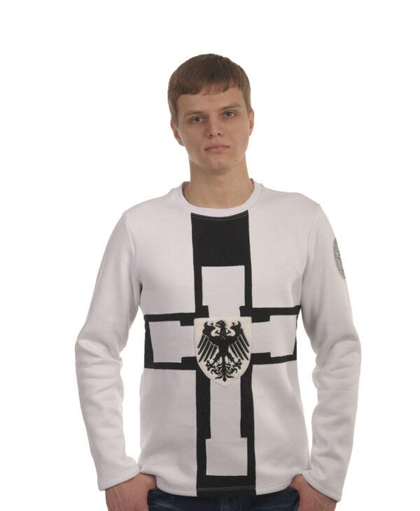 Мужская толстовка белая с рыцарской символикой