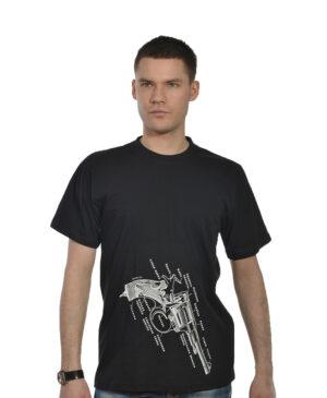 Черная мужская футболка с револьвером, 100% ХБ